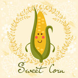 Cute sweet corn character illustration Royalty Free Stock Image