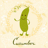 Cute sweet cucumber character illustration Royalty Free Stock Photos