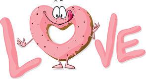 Cute sweet donut heart shaped in love - vector i Royalty Free Stock Image