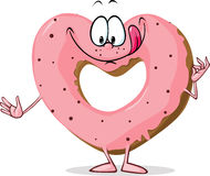Cute sweet donut heart shaped - vector Royalty Free Stock Photography