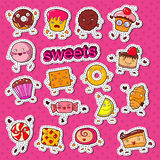 Cute Sweet Food Candy Characters Doodle With Cookie, Cupcake And Lollipop For Prints, Stickers And Badges Royalty Free Stock Photo