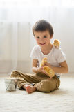 Cute sweet little child, preschool boy, playing with little chic Stock Photo