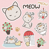 Cute And Sweet Meow Cat Cartoon Sticker Art - Vector. Cute And Sweet Meow Cat Cartoon Sticker Art for decoration artwork bussiness - Vector Stock Photography