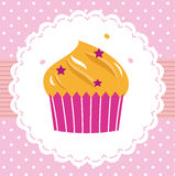 Cute sweet party cupcake card Stock Images