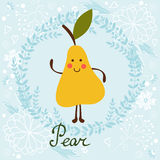 Cute sweet pear character illustration Royalty Free Stock Photo