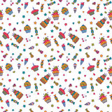 Cute sweet seamless pattern. Birthday background Royalty Free Stock Photo