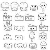 Cute sweets and candy. Set of cute sweets and candy. Adorable characters design. Design for coloring book Stock Photos