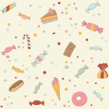 Cute sweets seamless pattern. Retro stile Royalty Free Stock Photos