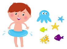 Cute swimming boy and sea animals icons vector illustration