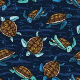 Cute swimming group of sea turtles cartoon seamless vector pattern. Hand drawn endangered ocean life tile. All over print for animal conservation blog royalty free stock photography