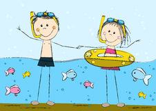 Cute swimming kids Royalty Free Stock Photos