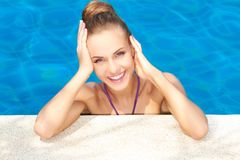 Cute in swimming pool with copy space Stock Photos