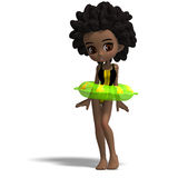 Cute swimsuit cartoon girl captivated by an Royalty Free Stock Image