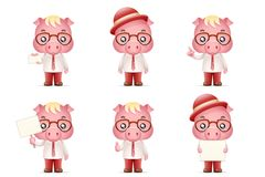 Cute Swine Pig Businessman Man 3d Realistic Cartoon Character Design Isolated Vector Illustration. Cute Swine Pig Businessman Man Realistic 3d Cartoon Character Stock Image