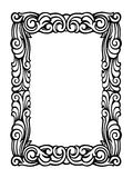 Cute Swirly Frame of Black Ink Swirls on White Stock Images