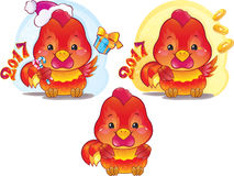Cute Symbol of Chinese Horoscope - Fire Rooster. Cute Red Fire Rooster for the Chinese New Year. The red fire rooster is a symbol of the approaching new 2017 Royalty Free Stock Photos