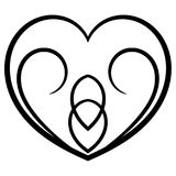 Cute symmetrical valentine heart. Cute tribal black symmetrical valentine heart for Valentine day Royalty Free Stock Photography