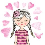 Loving cute little girl background love Royalty Free Stock Photography