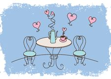 Cute table and chairs. Vector illustration of a table and chairs Stock Image