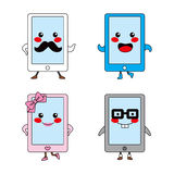 Cute Tablet Characters Stock Image