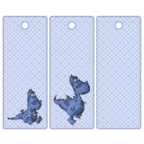 Cute tags or bookmarks with a blue dragon Stock Photography
