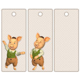 Cute tags or bookmarks with a cute pig Royalty Free Stock Images