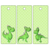 Cute tags or bookmarks with a green dragon Royalty Free Stock Photo