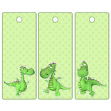 Cute tags or bookmarks with a green dragon Royalty Free Stock Photography