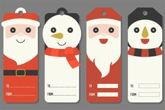 Cute tags of Santa Claus and snowman Royalty Free Stock Images