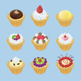 Cute tarts with 9 different look. Design by vector Stock Photos
