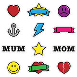 Cute Tattoo Icons. A set of cute stickers often associated with tattoo design Royalty Free Stock Image