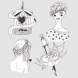 Cute tattoo set. Young girls, flower and bird cage stock illustration