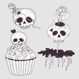 Cute tattoo skulls. Skull set with flowers Royalty Free Stock Images