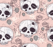 Cute tattoo style skull seamless patten. Royalty Free Stock Images