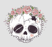 Cute tattoo style skull. Skull with flower crown. Royalty Free Stock Images