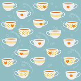 Cute tea cups. Vector seamless pattern. Royalty Free Stock Photography