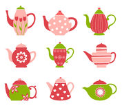 Cute tea pot collection Stock Images