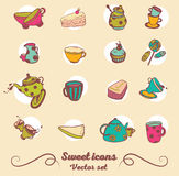 Cute tea things and sweets Royalty Free Stock Photo