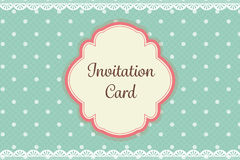 Cute teal polka dot with lace elegant background invitation card Royalty Free Stock Photography