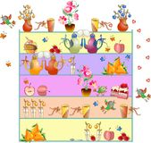 Cute teatime. Shelves with elements for tea party. Stock Images