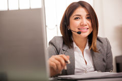 Cute tech support rep royalty free stock photography