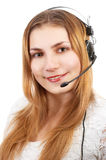 Cute techsupport girl stock image