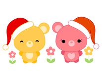 Cute teddies wearing santa hat Royalty Free Stock Photography
