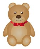 Cute teddy bear. Cartoon with red bow vector illustration Royalty Free Stock Images