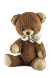 Cute teddy bear. Closeup of cute brown teddy bear, isolated on white background stock photo
