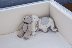 Cute teddy bear in baby nursery royalty free stock image