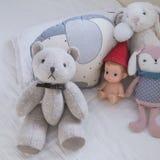 Cute teddy bear in baby nursery royalty free stock photo