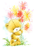Cute teddy Bear. Background for greeting card. Watercolor bear illustration. Royalty Free Stock Photos