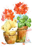 Cute teddy Bear. Background for greeting card. Watercolor bear illustration. Stock Photo