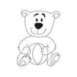 Cute teddy bear with ball. Royalty Free Stock Photography